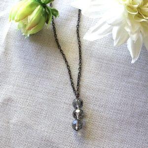Stacked Black Diamond Swarovski Crystal Necklace